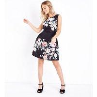 Mela-Black-Floral-Print-Prom-Dress-New-Look
