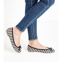 Blue Woven Stripe Bow Front Ballet Pumps New Look