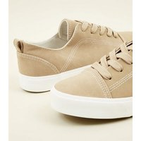 Mink Contrast Stitch Lace Up Trainers New Look