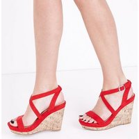Red Suedette Strappy Cork Wedges New Look