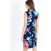 Blue Vanilla Navy Floral Print Gathered Front Dress New Look
