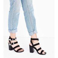 Black Suedette Western Buckle Heeled Sandals New Look