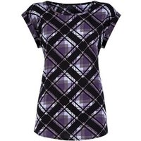 Apricot Purple Check Rolled Sleeve Top New Look