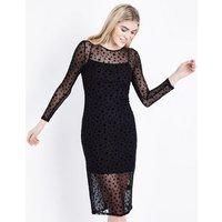 Black Star Mesh Long Sleeve Midi Dress New Look