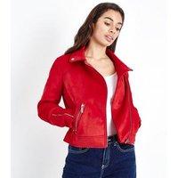 Petite Red Suedette Biker Jacket New Look
