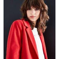 Red Revere Collar Split Back Coat New Look