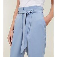 Tall Pale Blue Paperbag Waist Trousers New Look