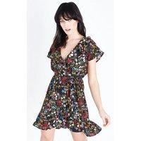 Black Floral Print Wrap Front Tea Dress New Look