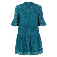 Petite Dark Green Floral Cut Out Tiered Smock Dress New Look