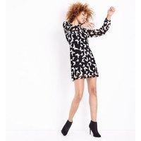 Mela Black Lace Butterfly Print Tunic Dress New Look