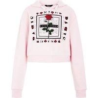 Teens Shell Pink Paris Logo Hoodie New Look