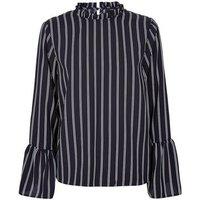 Black Stripe Frill Neck Bell Sleeve Blouse New Look