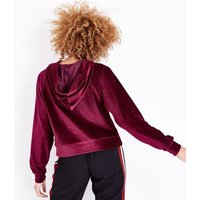 Burgundy Velour Raglan Sleeve Hoodie New Look