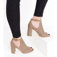 Light Brown Suedette Studded Peep Toe Block Heels New Look
