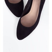 Wide Fit Black Comfort Flex Suedette Pointed Courts New Look