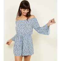 Blue Ditsy Floral Bardot Long Sleeve Playsuit New Look
