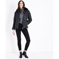 Black Faux Fur Collar Belted Puffer Jacket New Look