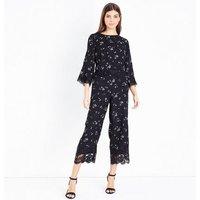 Black Floral Jacquard Lace Trim Top New Look