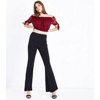 Cameo Rose Burgundy Lace Bardot Crop Top New Look
