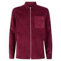 Burgundy Zip Through Cord Shacket New Look