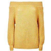 Petite Mustard Yellow Bardot Neck Jumper New Look