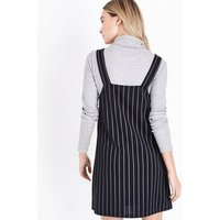 Black Pinstripe Pinafore Dress New Look