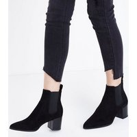 Black Suedette Pointed Heeled Chelsea Boots New Look