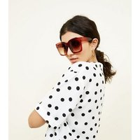 Red Oversized Square Frame Sunglasses New Look