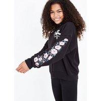 Teens Black California Embroidered Sleeve Hoodie New Look