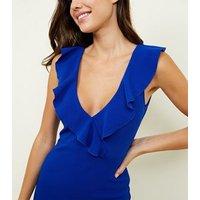 AX-Paris-Bright-Blue-VNeck-Frill-Front-Midi-Dress-New-Look