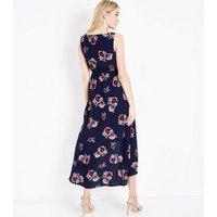 Blue Vanilla Navy Floral Dip Hem Maxi Dress New Look
