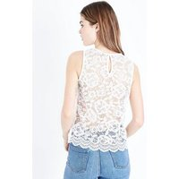 Off White Floral Lace Sleeveless Top New Look