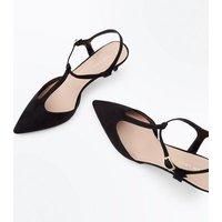Black Suedette T-Bar Pointed Kitten Heels New Look