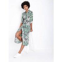Blue Vanilla White Stripe Leaf Knot Front Shirt Dress New Look
