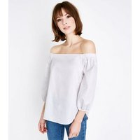 White Cotton Bardot Top New Look