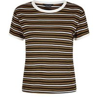 Black Multi Stripe Ringer T-Shirt New Look