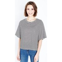 White Stripe Wide Raglan Sleeve T-Shirt New Look