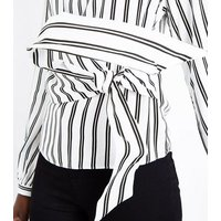 White Stripe Tie Waist Panelled Top New Look