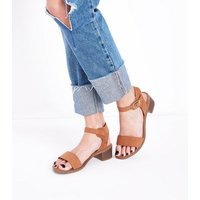 Wide Fit Tan Suedette Low Block Heel Sandals New Look