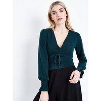 Dark Green Ruched Front Crop Top New Look