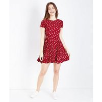 Red Floral Lace-Up Back Soft Touch Skater Dress New Look