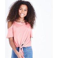 Teens Coral Lattice Tie Front Cold Shoulder Top New Look