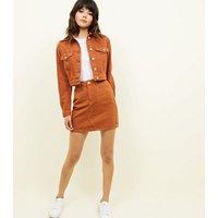 Rust Cropped Denim Jacket New Look