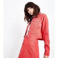 Red Contrast Stitch Cropped Denim Jacket New Look