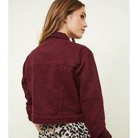 Burgundy Cropped Denim Jacket New Look