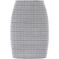 Tall Black Check Jersey Tube Skirt New Look