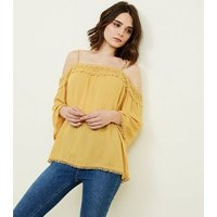 yellow white crochet trim cold shoulder blouse new look