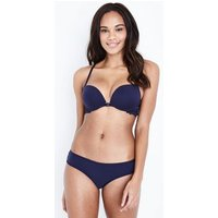 Navy Microfibre Lace Trim Bra New Look