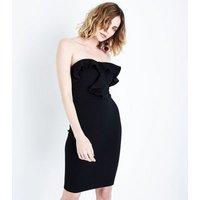AX Paris Black Frill Trim Strapless Dress New Look