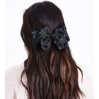 Black Diamante Embellished Hair Bow New Look